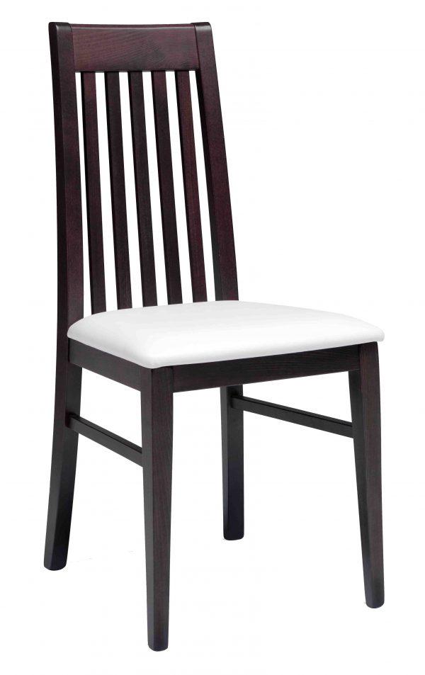 Sedia in legno e schienale alto con stecche verticali
