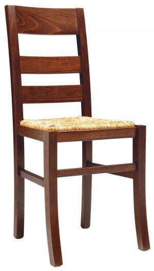 Sedia rustica in legno con sedile paglia o imbottito