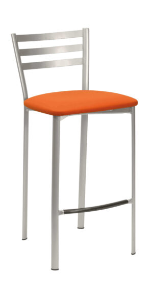 Sgabello basso con schienale in acciaio e sedile a scelta